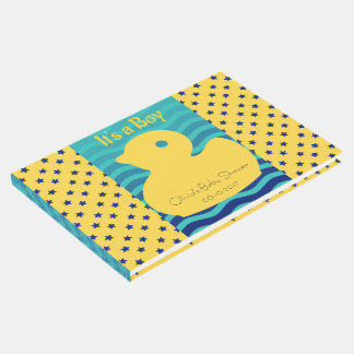 It's a boy! Yellow duck and ocean waves. Guest Book