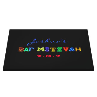"""IT""""S ELECTRIC Bar Mitzvah Memory Sign-In Board Canvas Print"""