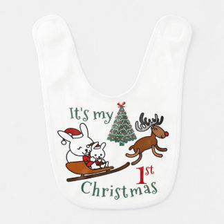It's My First Christmas Santa Mouse Bib