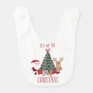 It's my first Christmas Tree Santa and Reindeer Bib