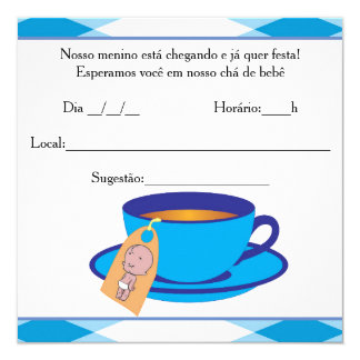 """It ` s the Boy Baby Shower - Tea of Baby Boy 5.25"""" Square Invitation Card"""