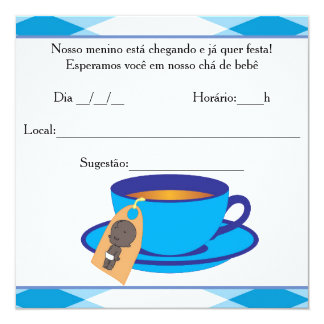 "It ` s the Boy Baby Shower - Tea of Baby Boy 5.25"" Square Invitation Card"