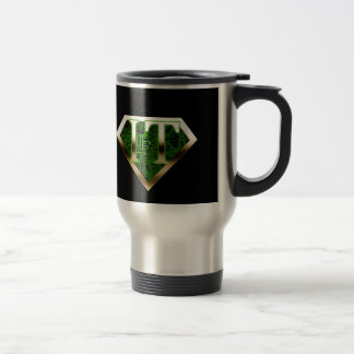 IT Super Hero Mug with Motherboard and Metal Black