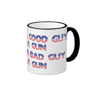 It takes a good guy to stop a bad guy ringer mug