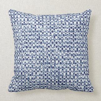Itajime Shibori Blue Check Textile Geometric Weave Throw Pillow