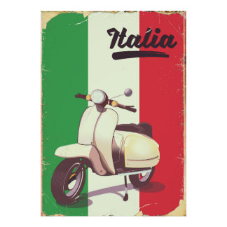Italia Scooter Vintage travel poster