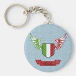 Italia Winged Vintage Flag Basic Round Button Keychain