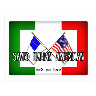 Italian American Christian Flags Postcard