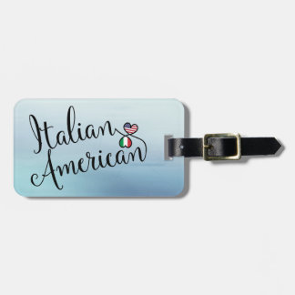 Italian American Entwined Hearts Luggage Tag