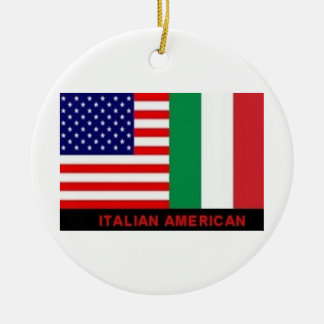 ITALIAN/AMERICAN FLAGS CHRISTMAS ORNAMENT