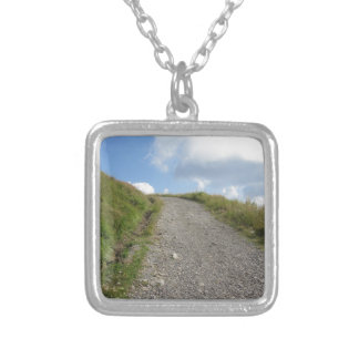 Italian Apennine mountains landscape Silver Plated Necklace