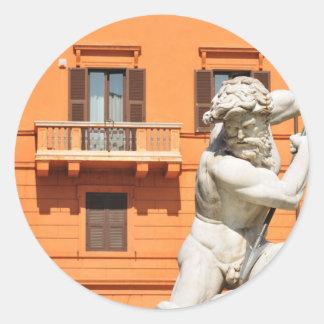 Italian architecture in Piazza Navona,Rome, Italy Classic Round Sticker