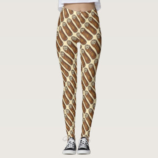 Italian Bakery Pastry Chocolate Chip Cannoli Food Leggings