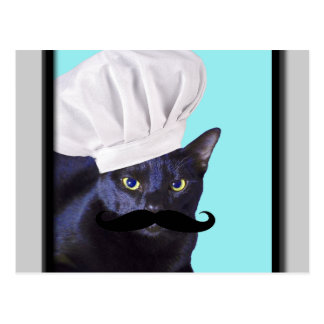Italian Chef, Black Cat Postcard