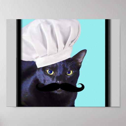 Italian Chef, Black Cat Posters