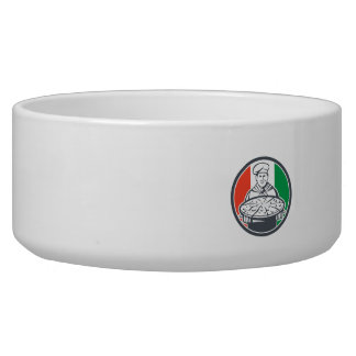 Italian Chef Cook Serving Pizza Circle Retro Dog Bowls
