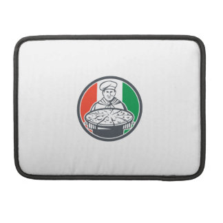 Italian Chef Cook Serving Pizza Circle Retro Sleeve For MacBook Pro