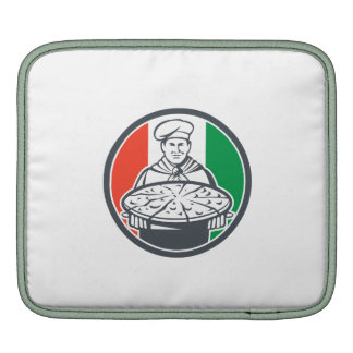 Italian Chef Cook Serving Pizza Circle Retro Sleeves For iPads