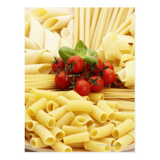 Italian cuisine. Pasta and tomatoes. Postcard