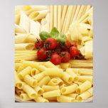 Italian cuisine. Pasta and tomatoes. Print