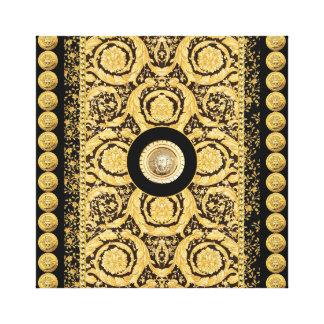 Italian design Medusa, roccoco baroque, black gold Stretched Canvas Prints