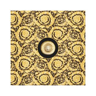 Italian design Medusa, roccoco baroque, black gold Canvas Print