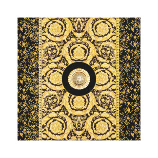 Italian design Medusa, roccoco baroque, black gold Canvas Print