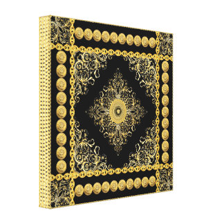 Italian design Medusa, roccoco baroque, black gold Canvas Prints