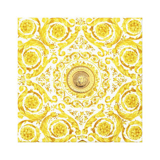 Italian design Medusa, roccoco baroque, white gold Canvas Print