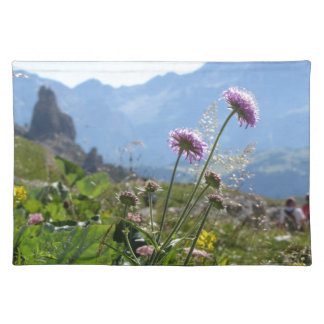 Italian Dolomites landscape . Family on background Placemat