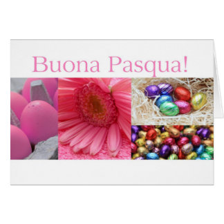 Italian Easter greeting pink collage Cards