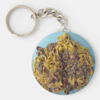 Italian fettuccine pasta with porcini mushrooms keychain