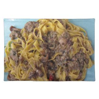 Italian fettuccine pasta with porcini mushrooms placemat