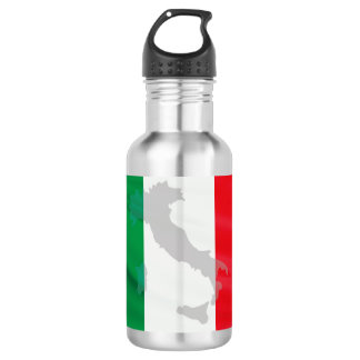 italian flag and Italy 532 Ml Water Bottle