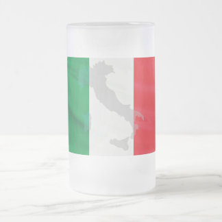 italian flag and Italy Frosted Glass Beer Mug