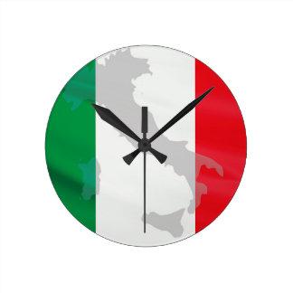 italian flag and Italy Round Clock