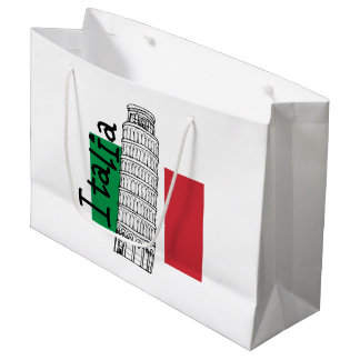 Italian Flag and Leaning Tower of Pisa Large Gift Bag