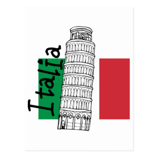 Italian Flag and Leaning Tower of Pisa Postcard