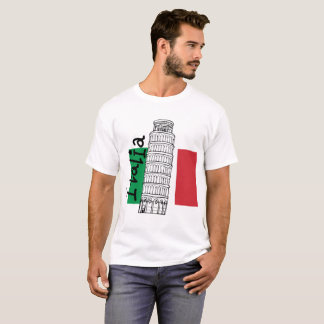 Italian Flag and Leaning Tower of Pisa T-Shirt