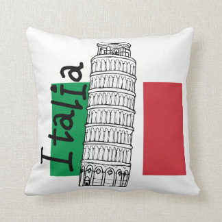 Italian Flag and Leaning Tower of Pisa Throw Pillow