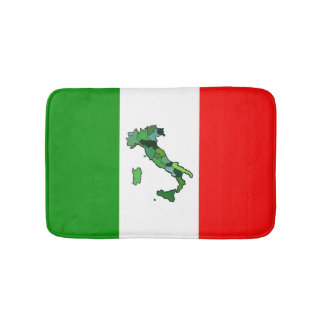 Italian Flag and Map of Italy Bathroom Mat