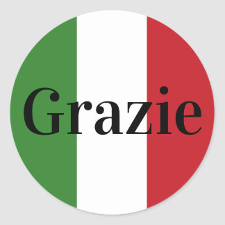 Italian Flag Colors Italy Green White Red Grazie Classic Round Sticker
