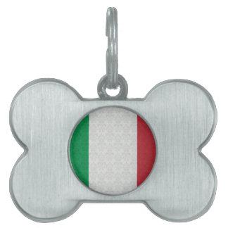 Italian Flag Damask Pattern Pet Tag