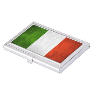 Italian Flag Grunge Business Card Holder