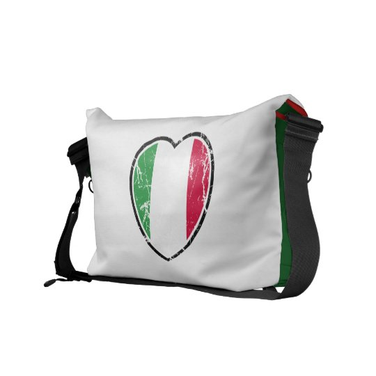 Italian Flag Heart Messenger Bag