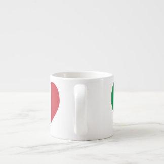 Italian Flag Heart Red Border Espresso Cup