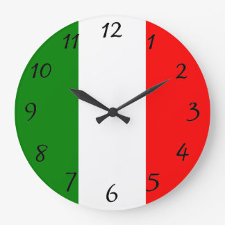 Italian Flag of Italy Bandiera d'Italia Tricolore Large Clock