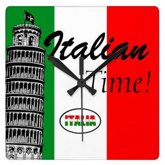 Italian-Flag of Italy Square Wall Clock