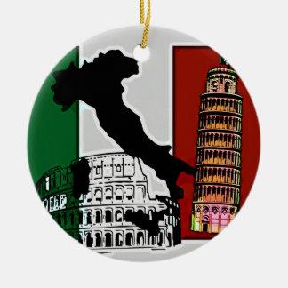 Italian Flag Round Ceramic Ornament