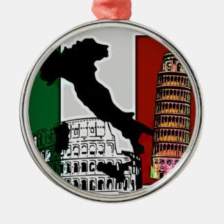 Italian Flag Silver-Colored Round Ornament